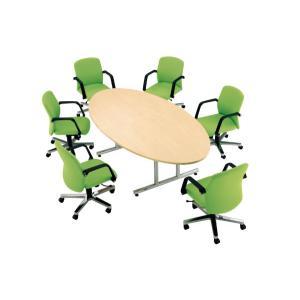 会議テーブル タマゴ型 楕円形 円卓 丸形 WT-2412E 送料無料|lookit