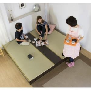 ステージ畳ベッド 畳もフレームもオール日本製! ユニット畳 フローリング畳 畳 2畳 置き畳 キングサイズ システム畳 ツインベッド ローベッド 収納付き 306 lookit