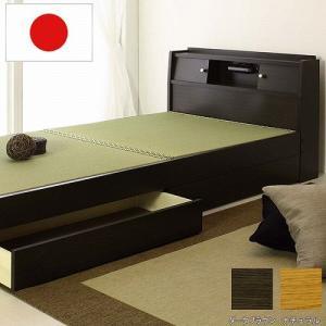 畳ベッド セミダブル 畳もフレームもオール日本製 防湿防虫加工 国産 照明付き 収納付き 畳 民宿 民泊 ベッド 引き出し 収納 セミダブルベッド A151SD|lookit