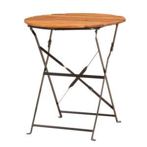 折りたたみテーブル 直径60cm 丸型テーブル ガーデンテーブル 半屋外対応 フォールディングテーブル 天然木 木製テーブル バルコニー ガーデン PRE-T60|lookit