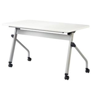 フォールディングテーブル 幅1200mm 奥行600mm 幕板なし キャスター付き 棚付き ミーティングテーブル 折りたたみ 会議用テーブル 机 デスク HFL-1260|lookit