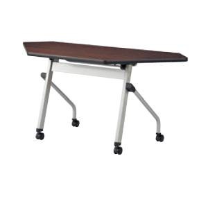 スタッキング可能の折りたたみコーナーテーブル! キャスター付きの会議用テーブルです。 棚付きで書類な...