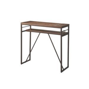 カウンターテーブル ハイテーブル 天然木天板 角型テーブル 棚付きテーブル ナチュラル モダン 北欧 おしゃれ テーブル アイアン脚 PT-782BK|lookit