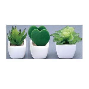 プチハート多肉3点セット 人工 観葉植物 人工観葉植物 造花 ギフト ブレゼント インテリア 光触媒 235B42-40|lookit