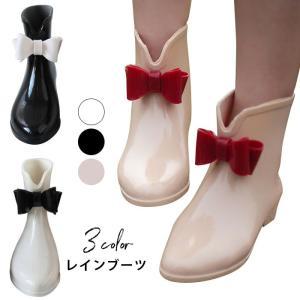 レインブーツ レインシューズ レディース 雨靴 ショートブーツ 雨対策 便利グッズ 防水ブーツ 長靴 雨具 婦人靴 ミドル丈 蝶結び付き 無地 かわいい|lookume