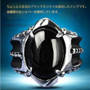天然石リング ブラックオニキス メノウ パワーストーン シルバー SILVER 銀製品 指輪 アクセサリー Ring 黒瑪瑙|lookume