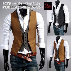 ベスト メンズ フェイクツーピースベスト スーツ ジレ アウター ファッション 春|lookume