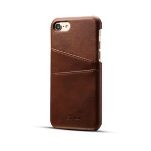 iPhone7 iPhone8 ケース カード収納 背面 ストレート タイプ 高級 PU レザー カード 2枚 収納 ブラウン|lool-shop