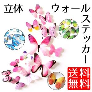 ウォールステッカー 3D 立体 蝶 部屋 の 飾りつけ 二次会 パーティー に オシャレな蝶々 12匹セット