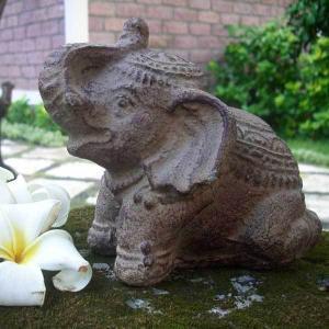石像 置物 インテリア オブジェ 石 彫刻 像 ゾウ アンティーク アジアン アジアン家具 loopsky