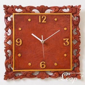 掛け時計 時計 壁掛け アナログ マホガニー 無垢 木製 木彫り オシャレ おしゃれ アジアン雑貨 バリ インテリア ナチュラル 新築祝い 開店祝い|loopsky