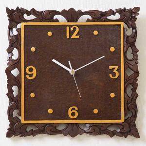 アジアン雑貨 バリ雑貨 掛け時計 四角 壁掛け 木製 おしゃれ マホガニー|loopsky