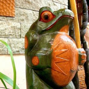 アジアン雑貨 バリ オブジェ カエル おしゃれ 蛙 かえる 木製 幸運 インテリア|loopsky