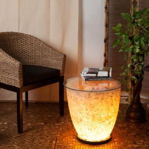 フロアライト アジアン テーブル付き 天然石 おしゃれ LED電球対応 バリ リゾート インテリア モダン フロアランプ 照明器具 ナイトテーブル|loopsky