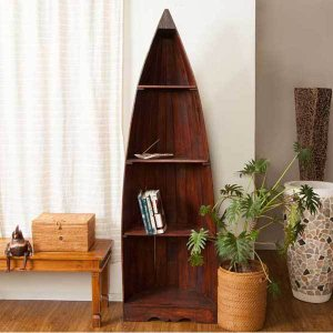 アジアン家具 棚 4段 無垢材 おしゃれ ボート型ラック 木製 バリ リゾート インテリア アンティーク調 南国風 西海岸 シェルフ 収納棚 本棚|loopsky