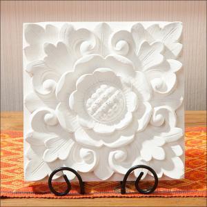 アジアン雑貨 花 おしゃれ リゾート バリ インテリア レリーフ 壁 飾り ホワイト|loopsky