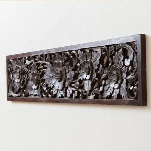 アジアン バリ 雑貨 家具 インテリア おしゃれ ロータス パネル 飾り 彫刻 オブジェ モダン 壁掛け 和室|loopsky