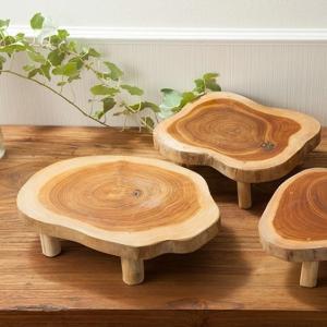 アジアン雑貨 チーク 木製 台 プレート 皿 インテリア おしゃれ 寿司 脚付き|loopsky