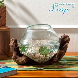 アジアン 雑貨 おしゃれ チーク バリガラス テラリウム 花器 花瓶 金魚鉢 人気 インテリア