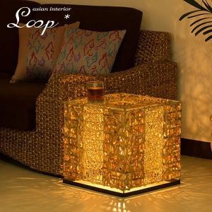 フロアライト アジアン テーブル付き ラタン バンブー おしゃれ LED電球対応 バリ リゾート インテリア モダン スタンドライト フロアランプ 照明器具 loopsky