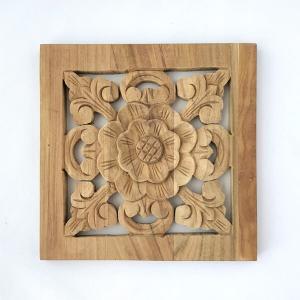 ウッドカービング 壁面 インテリア 壁飾り レリーフ 建材 木製 チーク 天然木 無垢材 アジアン雑貨 浮き彫り おしゃれ ナチュラル 花模様 四角|loopsky