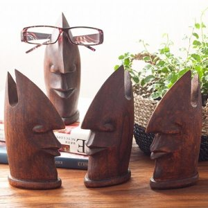 アジアン雑貨 メガネスタンド 眼鏡 木製 オブジェ 洗面所 おしゃれ アジアン家具 loopsky