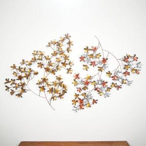玄関 アジアン レリーフ 壁掛けアート プルメリア フランジパニ 金属製 おしゃれ モダン|loopsky
