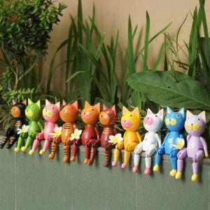 ぶらぶらウッドオブジェ バリネコ 猫 ねこ ネコ 人形 木彫り オブジェ 置物 カラフル 玄関 リビング 引っ越し祝い プレゼント ギフト loopsky