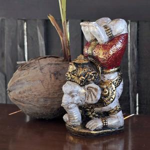 置き物 ガネーシャ神 アジアン雑貨 オブジェ 縁起物 玄関 バリ リゾート インテリア|loopsky