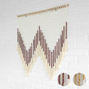 タペストリー アジアン雑貨 ウッドビーズ 壁掛け ウォールデコレーション リビング バリ リゾート インテリア|loopsky