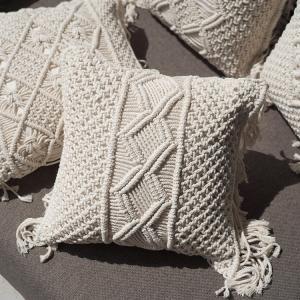 クッションカバー 40×40 マクラメ編み おしゃれ アジアン雑貨 バリ リゾート インテリア|loopsky