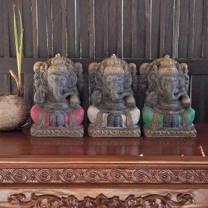 置き物 ガネーシャ神 アジアン雑貨 3色 オブジェ 縁起物 玄関 バリ リゾート インテリア|loopsky