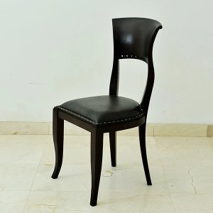 ダイニングチェア アジアン家具 チーク無垢材 本革レザークッション おしゃれ 木製 バリ インテリア モダン イス 椅子 完成品|loopsky