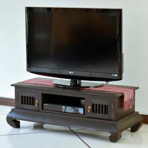 アジアン家具 テレビ台 チーク無垢材 おしゃれ 幅117 木製 バリ リゾート インテリア モダン 高級感 テレビボード ローボード 完成品|loopsky