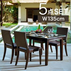 ダイニングテーブルセット アジアン家具 チーク無垢材 4人用 おしゃれ 引き出し付き 木製 バリ リゾート インテリア モダン 高級感 ダイニングチェア 4人掛け|loopsky