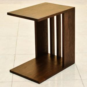 サイドテーブル コの字型 アジアン家具 チーク無垢材 おしゃれ 木製 バリ リゾート インテリア モダン 高級感 ベッドサイド loopsky