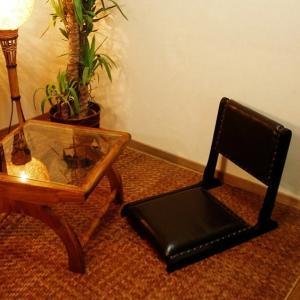 座椅子 コンパクト おしゃれ チーク無垢材 本革レザー アジアン家具 木製 バリ インテリア モダン 和風 アジアン家具 チーク無垢材 高級感|loopsky
