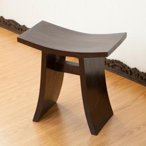 スツール 木製 椅子 チェア 玄関 腰掛け アジアン家具 エスニック マホガニーの写真