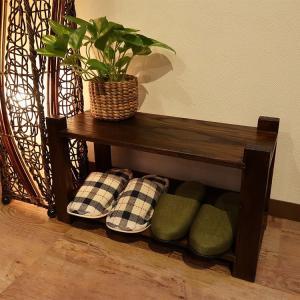 シェルフ 2段 アジアン家具 無垢材 おしゃれ 木製 バリ インテリア スリッパ 玄関 ラック 収納|loopsky