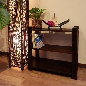 シェルフ 3段 アジアン家具 無垢材 おしゃれ 木製 バリ インテリア スリッパ 玄関 ラック 収納|loopsky