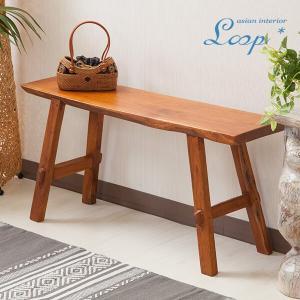 オールドチーク ベンチ 幅90 おしゃれ 木製 無垢材 アジアン家具 バリ インテリア ベンチ椅子 長椅子 玄関|loopsky