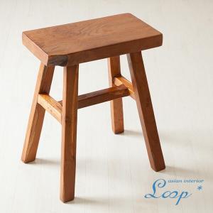 オールドチーク スツール おしゃれ 木製 無垢材 アジアン家具 バリ インテリア 腰掛け椅子 角椅子 玄関|loopsky
