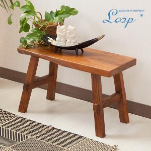 オールドチーク ベンチ 幅60 おしゃれ 木製 無垢材 アジアン家具 バリ インテリア ベンチ椅子 長椅子 玄関|loopsky