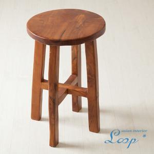 オールドチーク スツール おしゃれ 木製 無垢材 アジアン家具 バリ インテリア 腰掛け椅子 丸椅子 玄関|loopsky