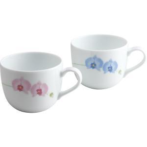 香蘭社 胡蝶蘭 ペアマグカップ 和食器 陶器 マグカップ 結婚 引き出物 出産お返し 節句 七五三内祝 新築お祝い|lotus-bear