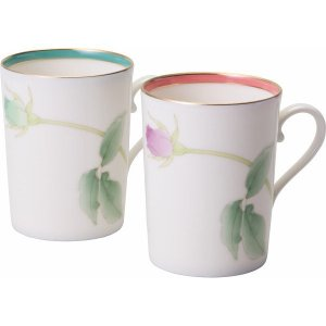 香蘭社 ブライトローズ ペアマグカップ 和食器 陶器 マグカップ 結婚 引き出物 出産お返し 節句 七五三内祝 新築お祝い|lotus-bear