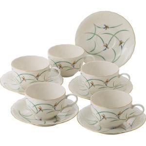 香蘭社 リンドフィールド 碗皿5客揃 和食器 陶器 コーヒーティーカップセット 結婚 引き出物 出産お返し 節句 七五三内祝 新築お祝い|lotus-bear