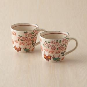 夕立窯 今昔物語 ペアマグカップ 和食器 陶器 マグカップ 結婚 引き出物 出産お返し 節句 七五三内祝い 新築お祝い|lotus-bear