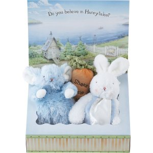 バニーズバイザベイ にぎにぎトイ 雪うさぎの赤ちゃん にんじんラトル ギフトBOXセット ブルー  ベビー用品 出産祝ギフト 誕生祝い 初節句祝 お祝い 内祝 お返し|lotus-bear