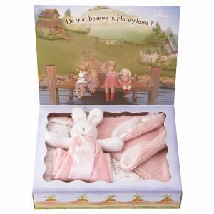 バニーズバイザベイ にぎにぎトイ ブランケット付 ギフトBOXセット ピンク ベビー用品 出産祝ギフト 誕生祝い 初節句祝 お祝い 内祝 お返し|lotus-bear